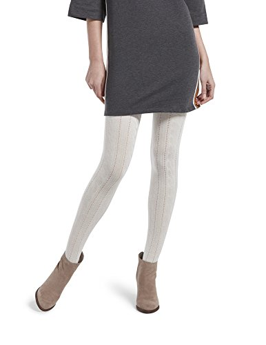 HUE Women's Fashion Sweater Tights with Non Control Top, Assorted, Cable-Ivory, M/L