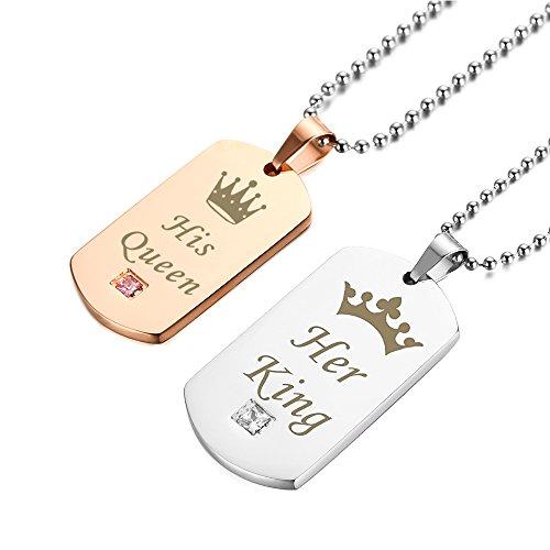 ... rose Erkennungsmarke Geschenk Silver Edelstahl King Gold Titan Partner  Queen Halskette GAGAFEEL Herren mit Set für ... d2c104d09b
