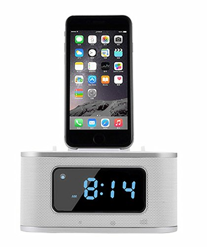 Digital Alarm Clock, Wireless Bluetooth Speaker Bedside Bedroom Radio with Lightning Interface for iPod/iPhone by TuoP - White