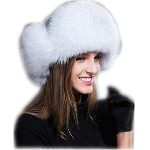 MH Bailment Womens Winter Hat Genuine Fox Fur Russian Hats Lei Feng hat (One Size, Blue Fox)