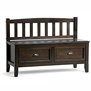 Simpli Home Burlington Solid Wood Entryway Storage Bench with Drawers, Espresso Brown
