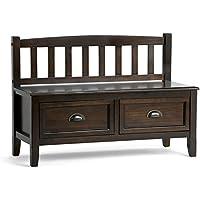 Simpli Home Burlington Solid Wood Entryway Storage Bench with Drawers, Espresso Brown