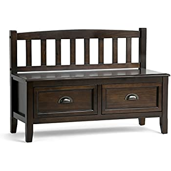 Beautiful Simpli Home Burlington Entryway Storage Bench With Drawers, Espresso Brown