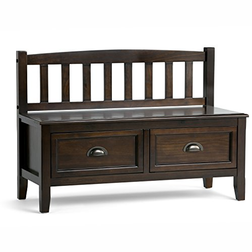 Simpli Home 3AXCBURBEN Burlington Solid Wood 42 inch wide Traditional Entryway Storage Bench with Drawers in Espresso Brown