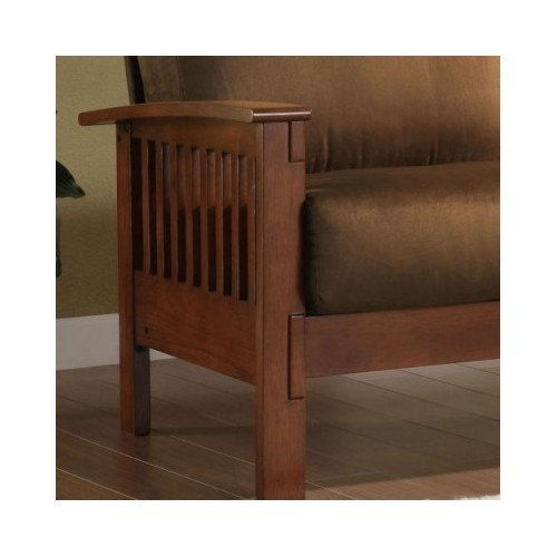 Tribecca Home Mission Style Oak and Rust Love Seat. This Beautiful Sofa Will Instantly Add a Touch of Character to Any Living Room, Office or Guest Room. Entertain Guests with This Beautiful Loveseat, Built with Solid Wood to Ensure Long Lasting Durabilit