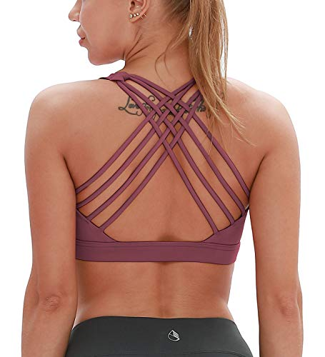 - icyzone Sports Bras for Women - Activewear Strappy Padded Workout Yoga Tops Bra (S, Mauve Orchid)