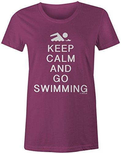 KEEP CALM and go Swimming ★ Rundhals-T-Shirt Frauen-Damen ★ hochwertig bedruckt mit lustigem Spruch ★ Die perfekte Geschenk-Idee