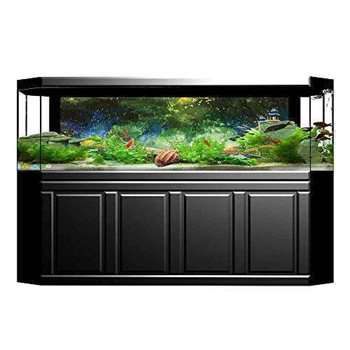 (Fish Tank Background Decor Static Image Backdrop Wallpaper Sticker Cling Decals Magical Scene with Flower Field with Mist Lights Fairy Tale River Wallpaper Sticker Background Decoration L29.5