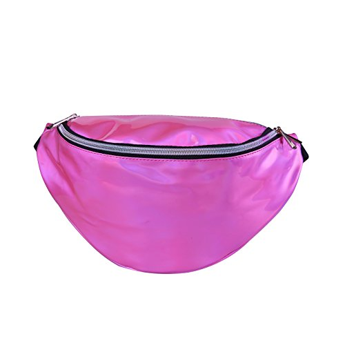 HDE Holographic Fanny Pack Iridescent Shiny Waist Pack for Travel Festival Rave (Hot Pink)