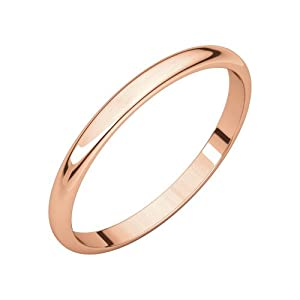 14k Rose Gold 2mm Light Half Round Band Ring - Size 7