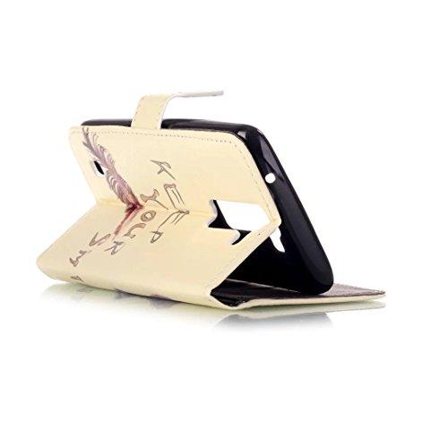 para LG K8 Funda Cuero de la PU Correa de Cuello Relieve Billetera Carcasa, Vandot Magnético Folio Flip Caso Con titular de la tarjeta, Elegante Funda Tipo Libro [Embossed Flor de Mariposa] Patrón de  Pattern 05
