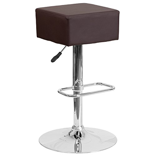 Flash Furniture Contemporary Brown Vinyl Adjustable Height Barstool with Chrome (Bistro Counter)