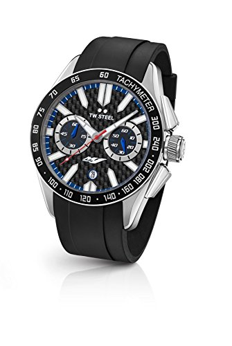 TW Steel Men's Grandeur Sport Stainless Steel Quartz Watch with Silicone Strap, Black, 22 (Model: GS1)