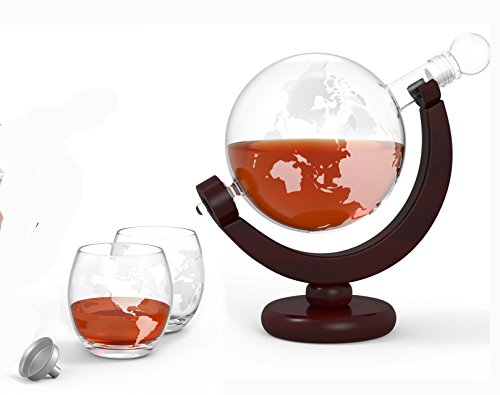 GlobeTrotter Etched Globe Spirits Decanter with Matching Glasses and Bar Funnel - 850 ml Whiskey and Wine Decanter in Wood Frame - BLOWOUT SALE!! - The Perfect Gift for Whiskey Lovers!