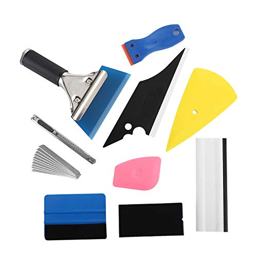GISSVOGEEK Car Vinyl Wrap Tools Vehicle Window Tint Tool Kit with Squeegees, Scrapers, Film Cutter, Utility Knife and Blades