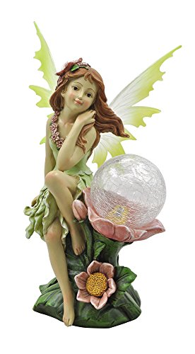 Moonrays 91543 Naomi Garden Pixie Statue with Solar Powered Color-Changing LED