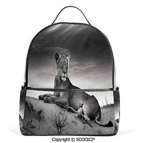 (Lightweight Chic Bookbag Wild Lioness on Desert Dune African Animal Safari Image,Black White Grey,Satchel Travel Bag Daypack)