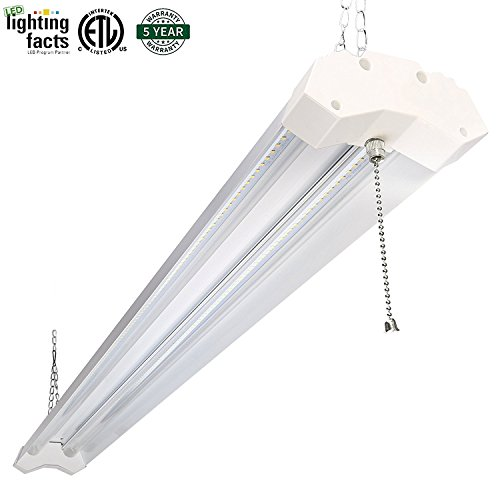 Hykolity Utility LED Look for Light 4ft 40 Watt 4800 Lumen 5000K Daylight White LED Garage Lights ETL Certified Double Integrated Ceiling Lighting Apparatus with Pull Cord Switch