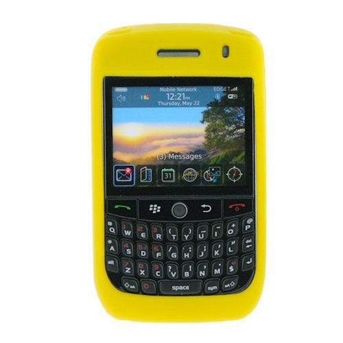 Yellow Rubber Soft Silicone Skin Cover Casefor T-Mobile Blackberry Curve 8900 Javelin - Curve T-mobile Blackberry 8900