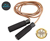 HUEY Sport Leather Jump Rope Adjustable Skipping Rope for Speed Quiet...