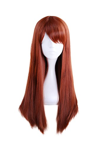 (HH Building Women Side Swept Bangs Long Straight Synthetic Hair Anime Cosplay Wig (Orange))