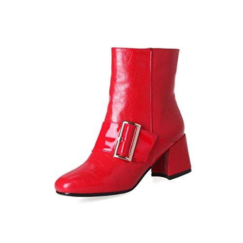 Mujeres Tobillo Martin Boots Cabeza redonda Chunky Mid Heel Marrón oscuro PU artificial Hebilla del cinturón Otoño invierno Trabajo de fiesta Red