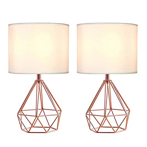 """SOTTAE Rose Gold Hollowed Out Base Modern Lamp Bedroom Livingroom Beside Table Lamp, 16"""" Copper Desk Lamp with White Fabric Shade(Set of 2)"""