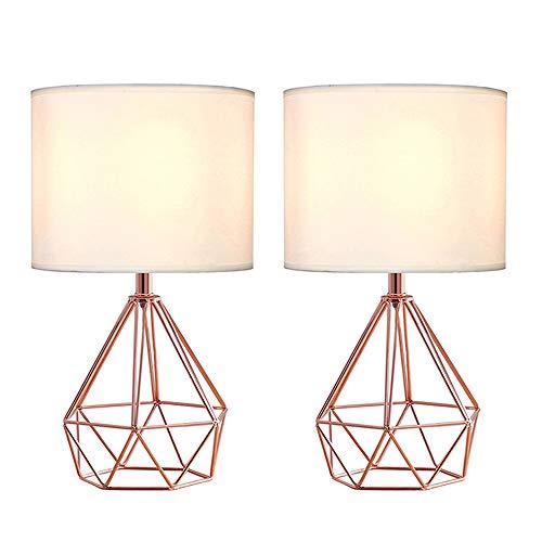 Table Lamp Copper Shade - SOTTAE Rose Gold Hollowed Out Base Modern Lamp Bedroom Livingroom Beside Table Lamp, 16