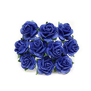 "1/2"" Royal Blue Mulberry Paper Flowers, Paper Roses, Blue Flowers, Floral Crown Flowers, DIY Wedding, Wedding Table Flowers, Navy Blue Wedding, Artificial Flowers, 50 Pieces 65"