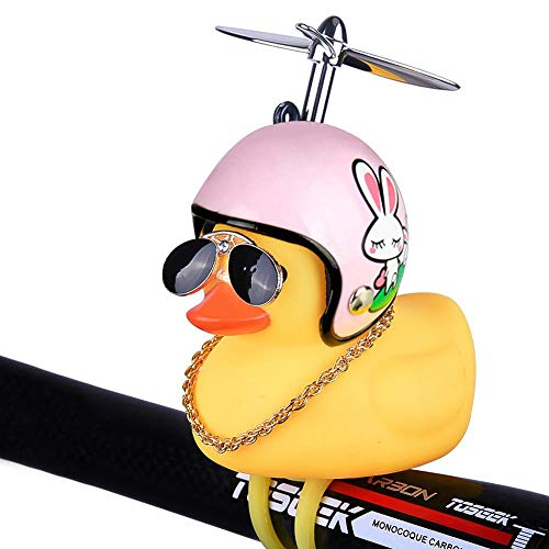 FOONEE Kids Bike Horn, Cute Children Bicycle Bell, Fashion Duck Bicycle Lights Bell Squeeze Horns, Helmet Toys, Sunglasses, Gold Chain ()