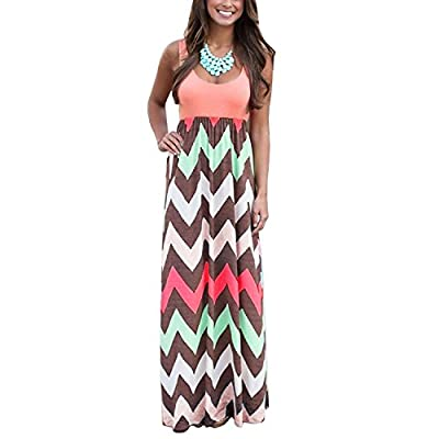 Yidarton Womens Wave Striped Summer Beach Dress Party Long Maxi Dresses