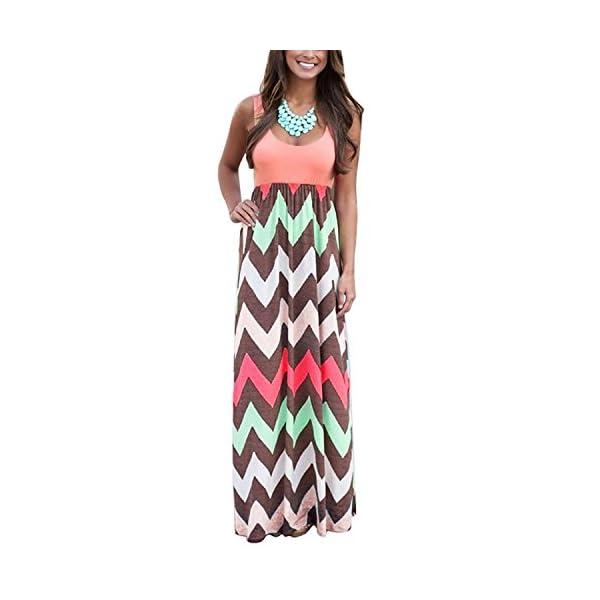 b7fd1017c06 Yidarton Womens Wave Striped Summer Beach Dress Party Long Maxi Dresses