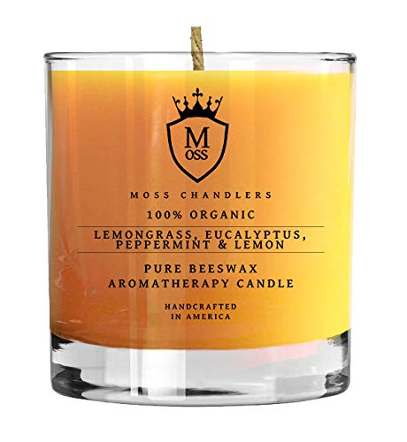 Moss Chandlers Lemongrass, Eucalyptus, Peppermint & Lemon - 100% Organic Aromatherapy Scented Beeswax Candle - Safe, Non-Toxic, Non-GMO Glass Tumbler (9 oz) by Moss Chandlers