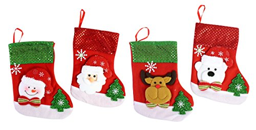 ute Designs Sequined Stockings Holiday Party Decoration Treat Bag Fireplace Decor - Santa, Reindeer, Snowman Each 9.7
