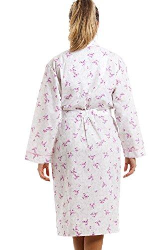 Bata de manga larga - Con bajo hasta las rodillas - Estampado floral rosa - Blanco BLANCO