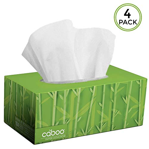 Caboo Tree Free Bamboo Facial Tissue Paper, Eco Friendly 2 Ply Tissue Flat Box - 184 Sheets Per Box, Total of 4 Boxes, 736 Total ()