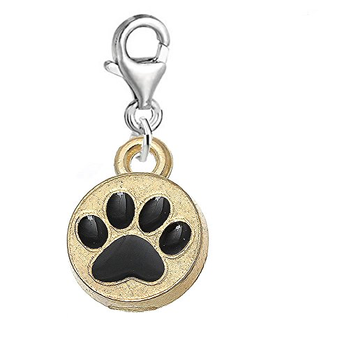 SEXY SPARKLES Dog Paw Print Protect Carved Bead Clip on Pendant for European Charm Jewelry with Lobster Clasp