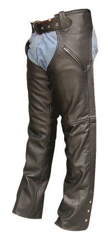 Unisex Adult AL2416 Chaps with 2 Zippered Pockets X-Small Black by Allstate Leather
