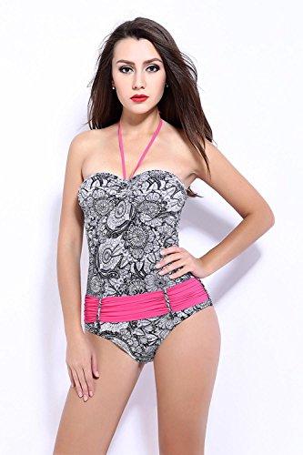 HZZ Halter Tankini de las mujeres de una pieza del traje de baño del Beachwear Deportes traje de natación Grey