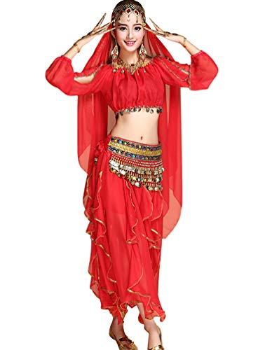 TianBin Jupes de Longue Femme Rouge Ensemble Unie de pour Danse Couleur 4 de Soie du Mousseline Jupe Maxi Ventre 7I7rwfq