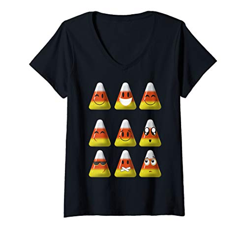 Womens Candy Corn Emojis Halloween Art Cool Funny Emoticons Gift V-Neck T-Shirt]()