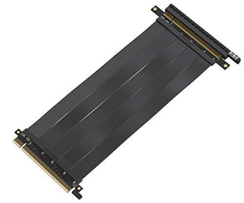 LINKUP 16x Riser Cable 64GB/s GPU Riser Extender - PCIE 3.0 (Future 4.0 Ready) Premium Shielded Twinaxial Technology | Black [20 cm]