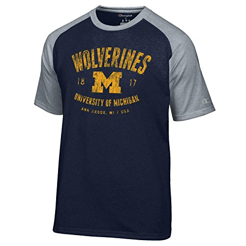 Champion NCAA Michigan Wolverines Men's Men's Formation Short sleeve T-Shirt, Small, (Champions Navy Short Sleeve T-shirt)