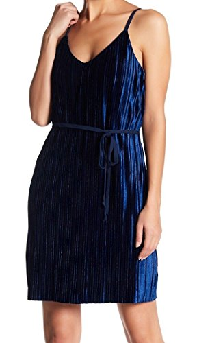 As U Wish Velvet Pleated Women's Belted Shift Dress Blue ()
