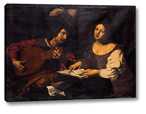 A Musician Playing a Lute to a Singing Girl by Nicolas Regnier - 10