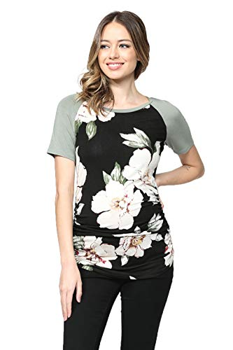 - LaClef Women's Maternity T-Shirts Top with Baseball Raglan (Black/Green Short, XL)