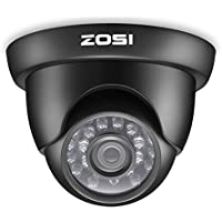 ZOSI 1/3 800TVL HD IR Cut CCTV Dome Home Security Dome Indoor outdoor Day Night Camera -3.6mm lens 65ft (20m) IR Distance (Black)