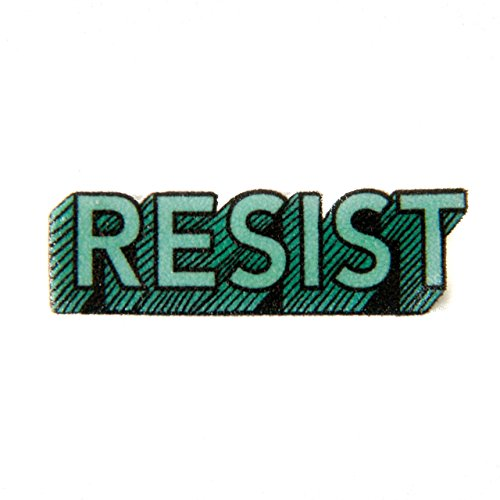 Resist Enamel Lapel Pin in Green - Activist Protestor Button