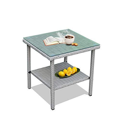 Patio Side Table Coffee Table Tea Table Silver Gray Rattan Outdoor Indoor Square Table Balcony Small End Table ()