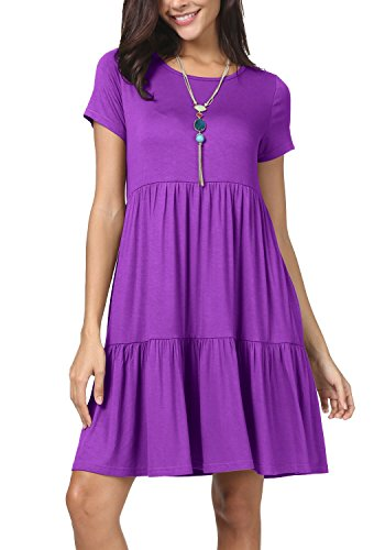 levaca Women Summer O Neck Ruffle Pleated Loose Casual T Shirt Dress Purple M